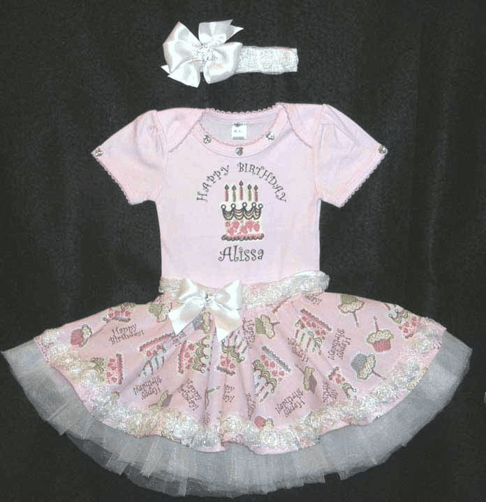 Personalized Pink Birthday Princess Set Onezee, Tutu Skirt, Headband