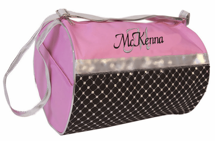 Personalized Pink & Black with Sequins Dance Gymnastics Duffel Everyday