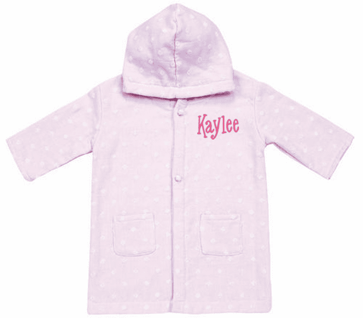 Personalized Pink Dot Muslin & Terry Baby Infant Kids Bath Robe