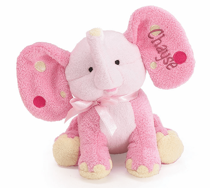 Personalized Pink Dottie Elephant Plush Rattle