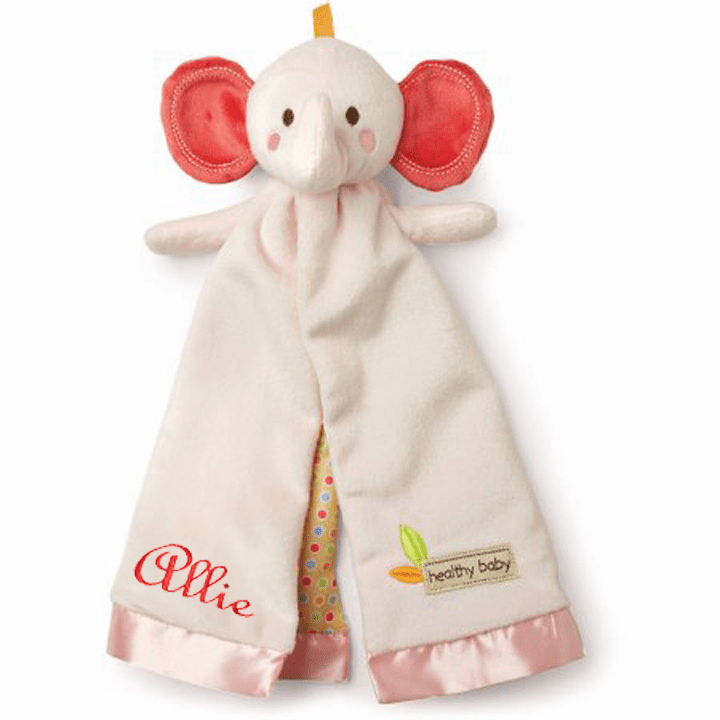 PERSONALIZED Pink Elephant Infant Baby Security Snuggly Blankie Healthy Baby Certified = Kids Preferred