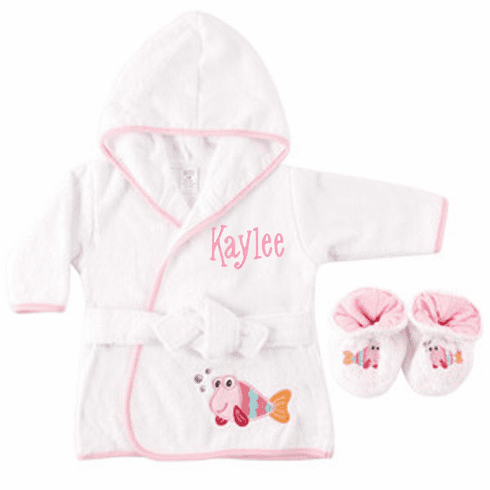 Personalized Pink Fishie Infant Baby Bath Robe with Slippers