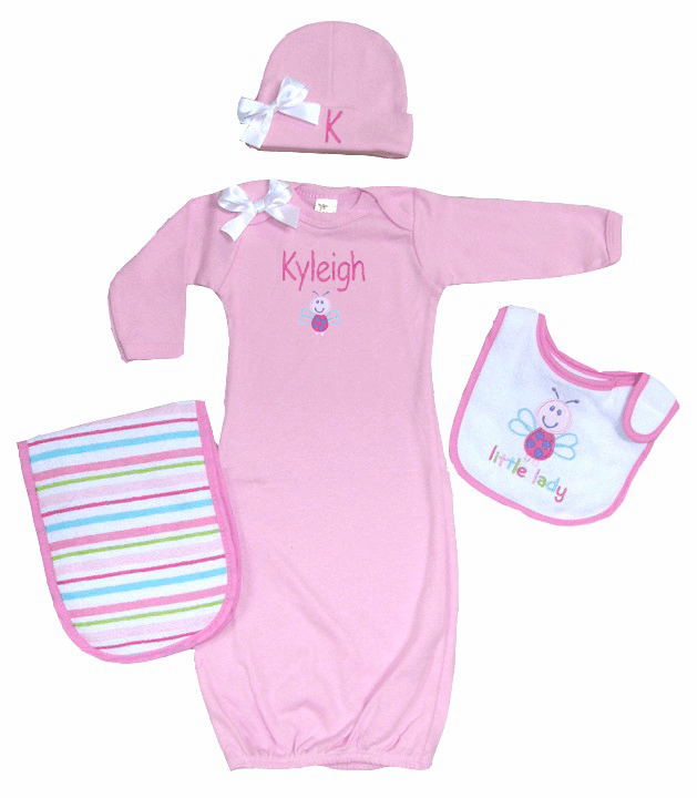 Personalized Pink Infant Baby Gown & Hat Set Little Bug Design