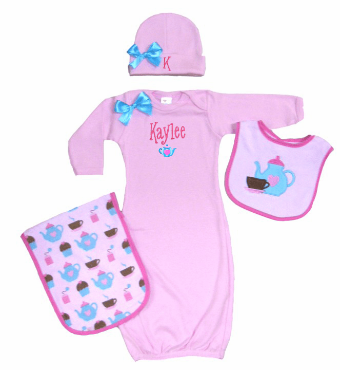 Personalized Pink Infant Baby Gown & Hat Set Tea Time Design