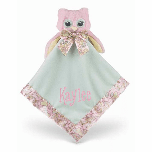 PERSONALIZED Pink & Mint Lil' Hoots Owl Security Snuggle Blanket