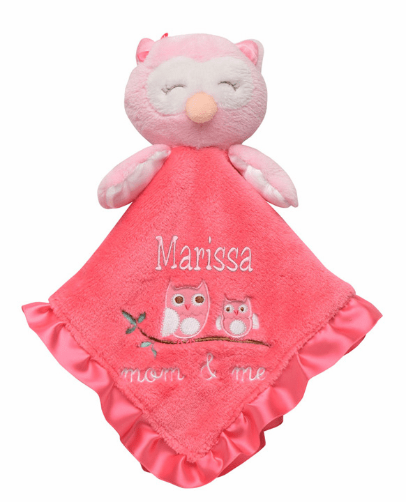 "PERSONALIZED Pink on Pink ""Mom & Me"" Owl Security Snuggle Blanket"