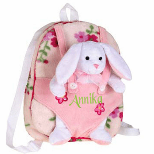 Personalized Pink Plush Floral Pattern Backpack with Removable Bunny