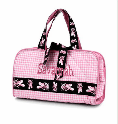 Personalized Pink Quilted Gingham Ballerina 3 pc Cosmetic Set Personalize Me