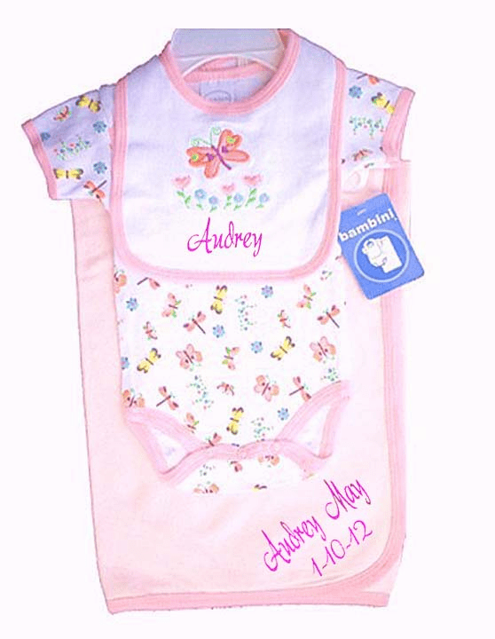 Personalized Pink Receiving Blanket, Pinks Printed Onezee and Embroidered Bib Set