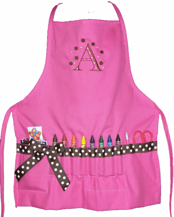Personalized Pink Ribbon Initial Child's Craft Crayon Apron