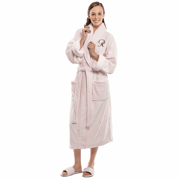 Personalized Pink Tahoe Micro Fleece Shawl Collar Robe 48""
