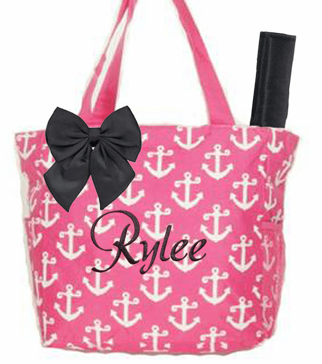 Personalized Pink & White Anchor Pattern Diaper Bag w/Changing Pad
