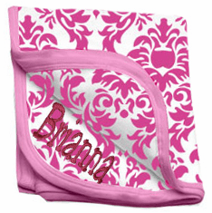 Personalized Pink & White Damask Receiving Blanket 100% Cotton Personalize Me