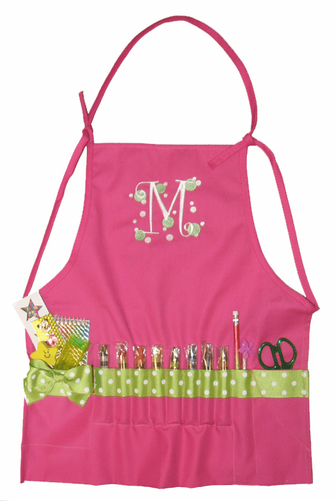 Personalized Pink with Lime Ribbon Craft Crayon Apron
