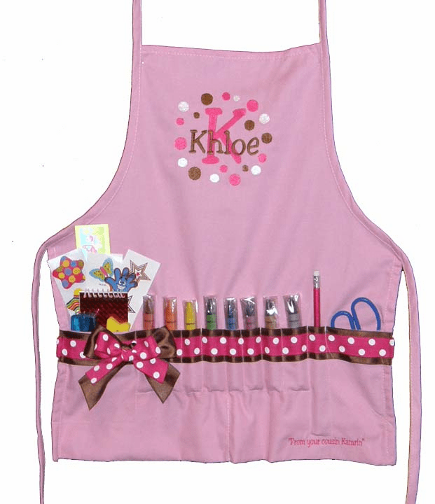 Personalized Pink with Pink & Brown Ribbon Craft Crayon Apron