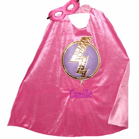 PERSONALIZED PLAY PRETEND DRESS-UP PINK HERO CAPE & MASK