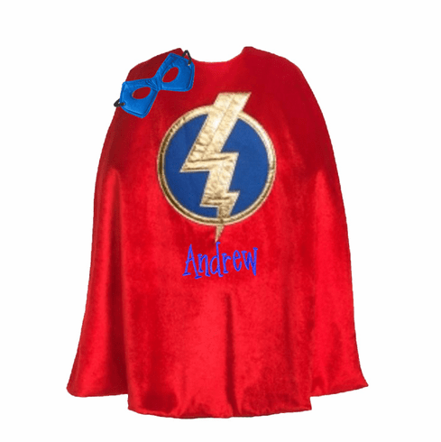 PERSONALIZED PLAY PRETEND DRESS-UP Red HERO CAPE & MASK