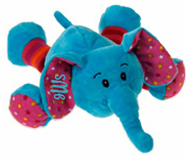 Personalized Plush Baby Elephant Rattle Blue with Polka Dots