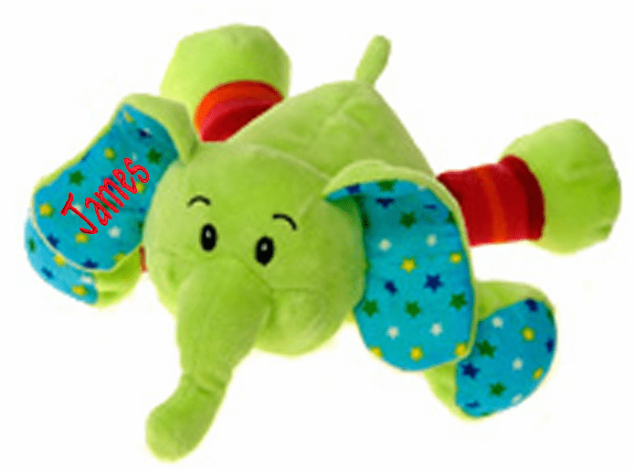 Personalized Plush Baby Elephant Rattle Green with Polka Dots