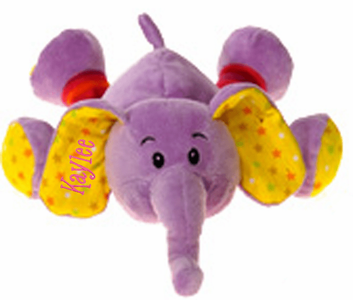 Personalized Plush Baby Elephant Rattle Purple with Polka Dots