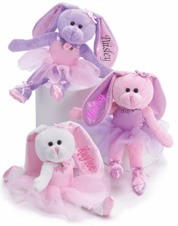 Personalized Plush Ballerina Bunny 10-1/2in Three Color Choices