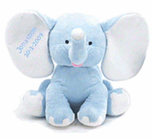 Personalized Plush Blue Elephant Baby's Name & Birthdate