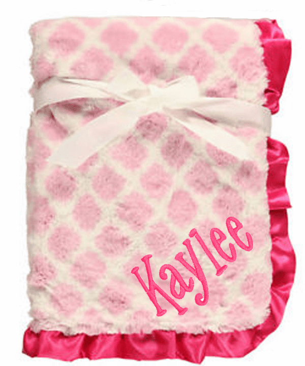 Personalized Plush Fur Blanket Pink Lattice Baby Girl Blanket