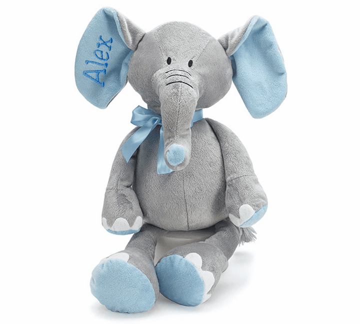 "Personalized Plush Grey Elephant with Blue Accents 16"" Tall"