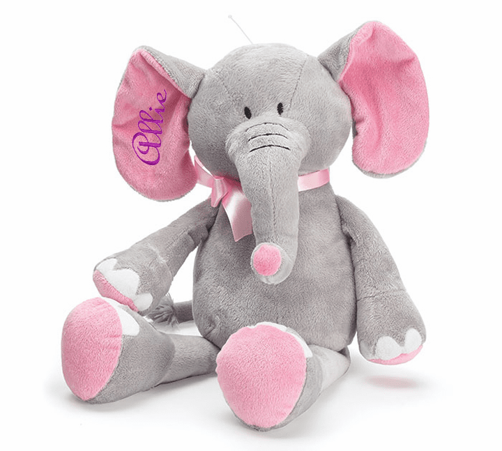 "Personalized Plush Grey Elephant with Pink Accents 16"" Tall"