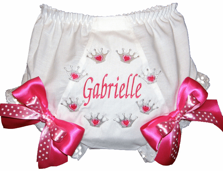 Personalized Princess Crowns Diaper Cover Bloomers Hot Pink Bows