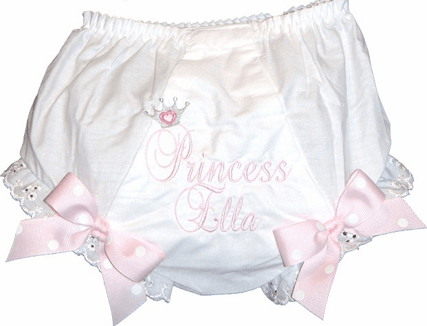Personalized Princess Diaper Cover Bloomers Light Pink Dot Bows