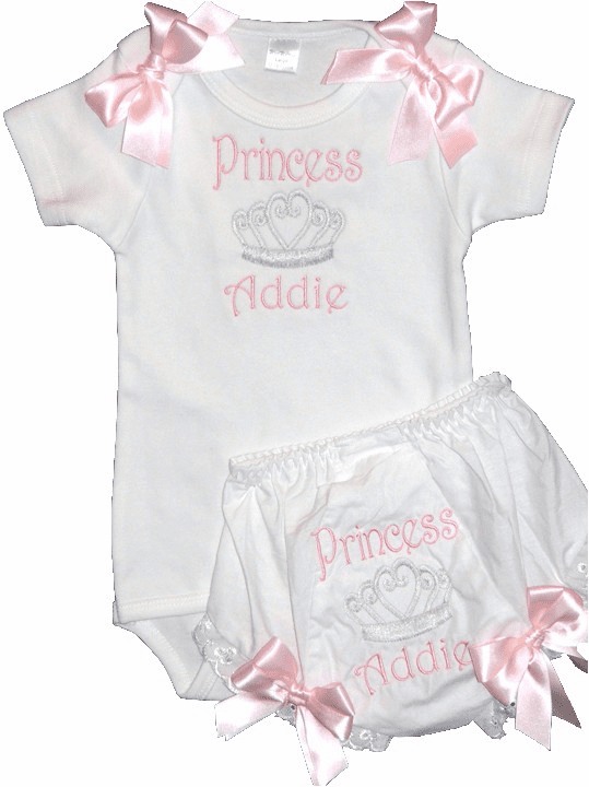 Personalized Princess Light Pink Baby Girl Onezee & Diaper Cover