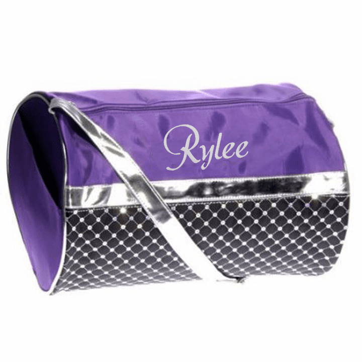 Personalized Purple & Black with Sequins Dance Gymnastics Duffel Everyday
