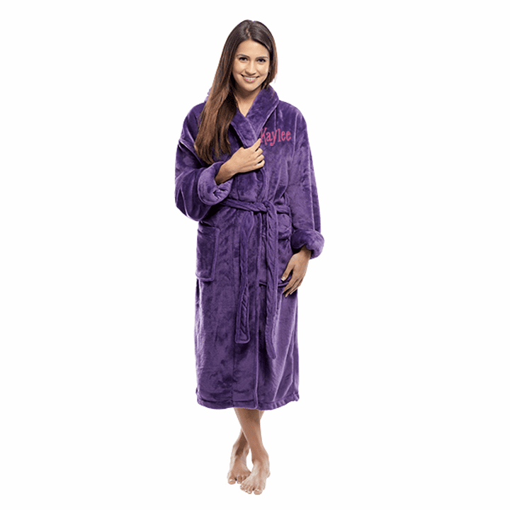 Personalized Purple Tahoe Micro Fleece Shawl Collar Robe 48""