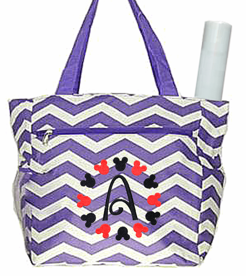 Personalized Purple & White Chevron Pattern Diaper Bag w/Changing pad