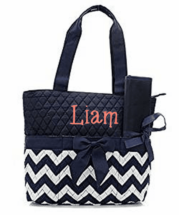 Personalized Quilted Chevron Diaper Bag w/Changing Pad & Pouch