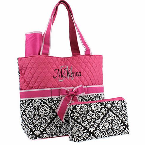 Personalized Quilted Damask Diaper Bag Pink, Whit & Black w/Changing Pad & Pouch