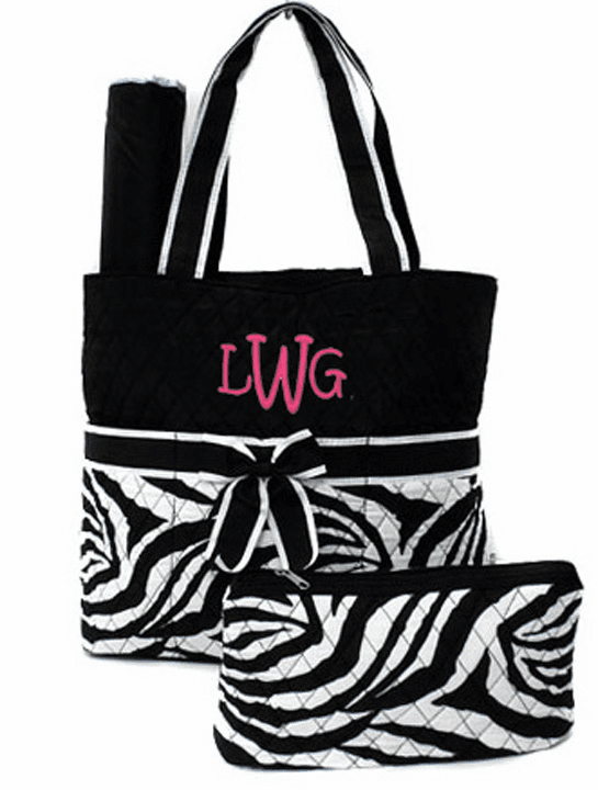 Personalized Quilted Zebra Print Diaper Bag White & Black w/Changing Pad & Pouch