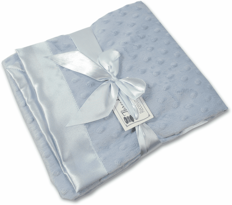 Personalized Receiving Blanket - Blue Minky Dot/Blue Satin Personalize Me