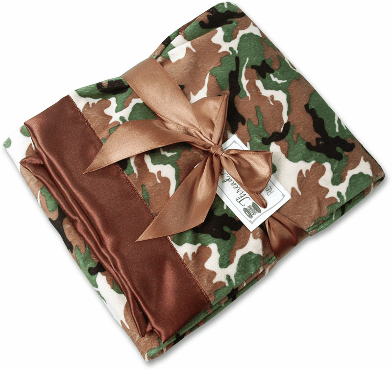 Personalized Receiving Blanket - Camo Minky/Chocolate Satin Personalize Me