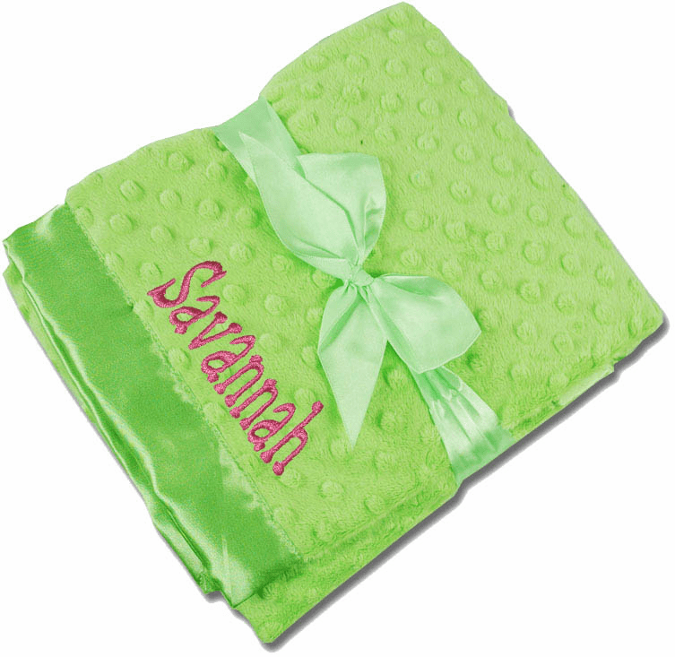Personalized Receiving Blanket - Lime Minky Dot/Lime Satin  Personalized Option