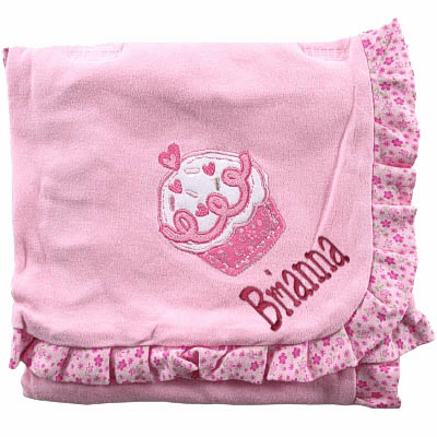 Personalized Receiving Blanket - Pink Ruffled Cupcake Design Personalized Option