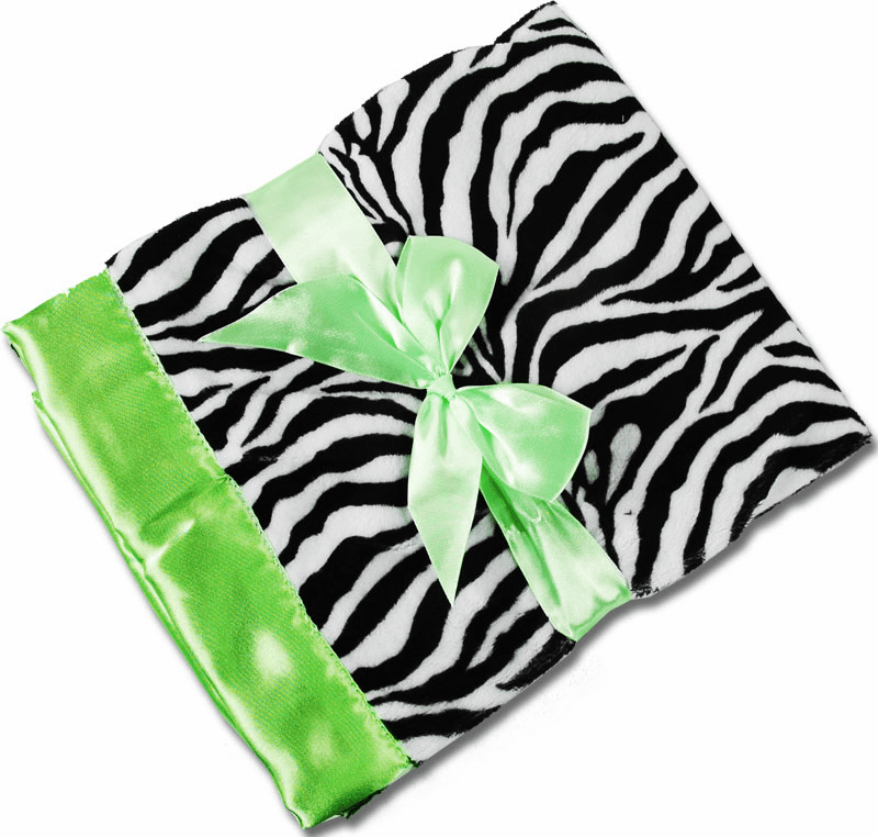 Personalized Receiving Blanket -Zebra Minky & Lime Satin Personalized Option