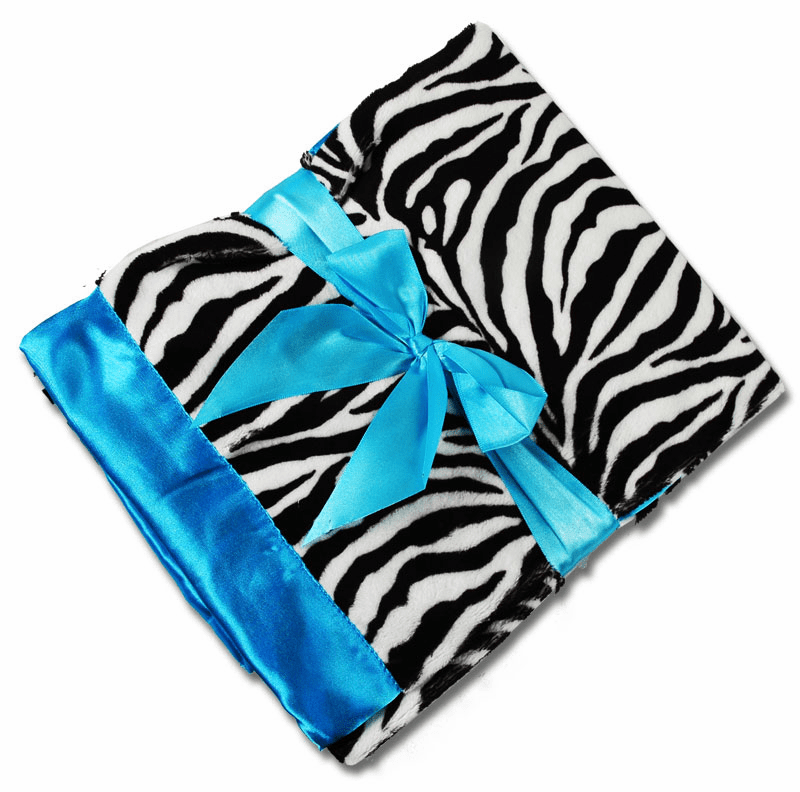 Personalized Receiving Blanket - Zebra Minky Turquoise Satin Personalized Option
