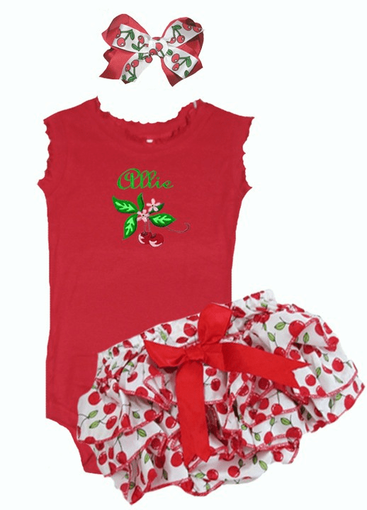 Personalized Red Onezee, Satin Cherries Diaper Cover and Hairbow Set