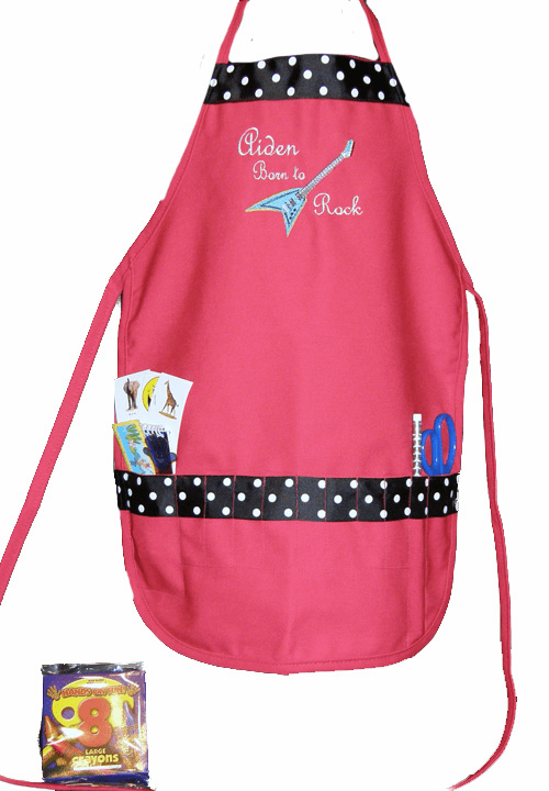 Personalized Red Rockstar Craft Crayon Apron w/Ribbon Trim