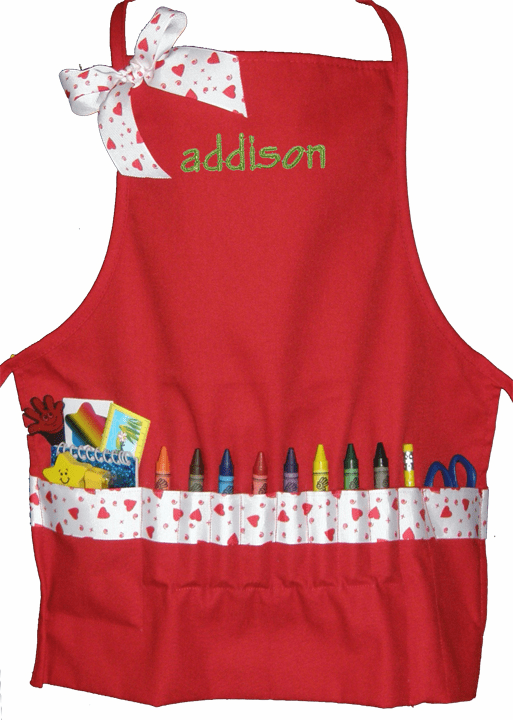 Personalized Red with Hearts Craft Crayon Apron