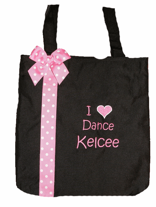 Personalized Ribbon Trim Dance, Gymnastics, Cheer, Acro or Your Choice Black Bag