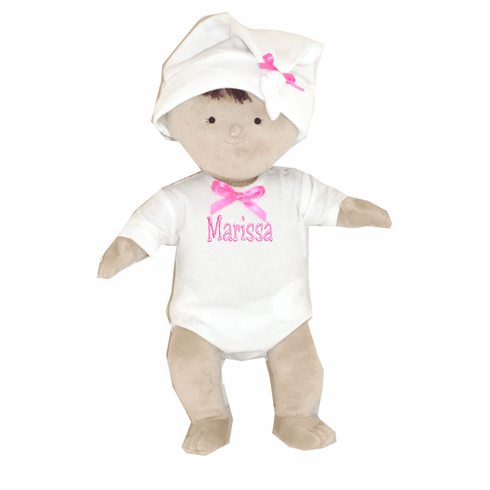"PERSONALIZED Rosy Cheeks Soft Brunette Girl Baby Doll 15"" Tall Blanket Option"