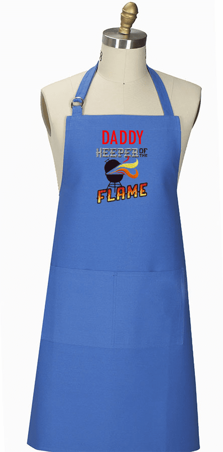 "Personalized Royal Blue BBQ Apron ""Keeper of the Flame"""